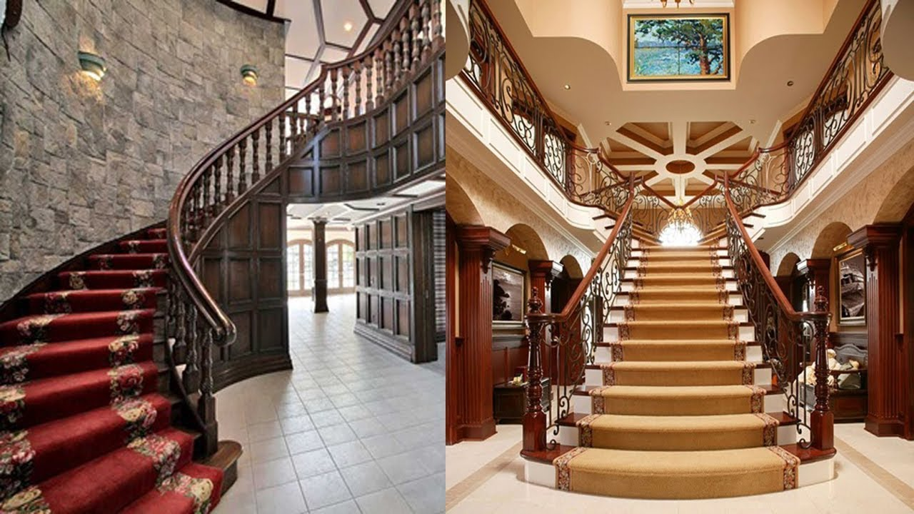 Modern Staircase Design Ideas Best Interior Stairs Design For | Interior Steps Design For Hall | Modern Drawing Room Tv Cabinet | Decorative | Architecture | Half Circle Staircase | Model House Hall