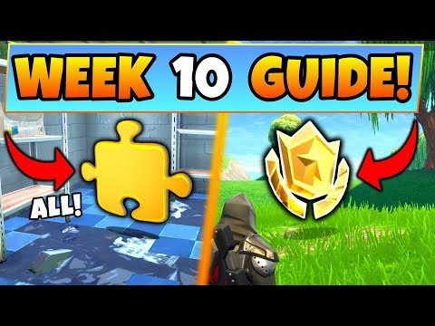 Fortnite WEEK 10 CHALLENGES GUIDE! – PUZZLE PIECES Locations, Treasure MAP (Battle Royale Season 5)