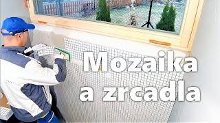 ▨ Mozaika 45° - 2. díl - kamenický roh s lištou FINEC. Zrcadla, montáž do niky. Obkladač Praha.