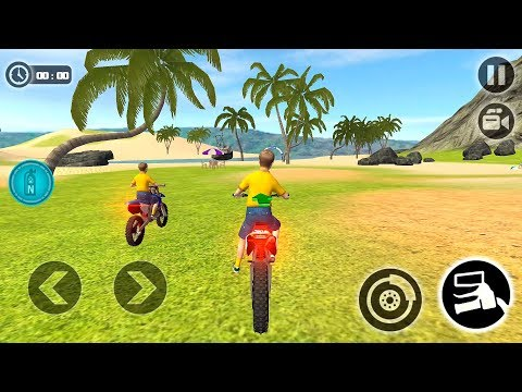 Kids Water Surfer Motorbike Racing Driving on Beach