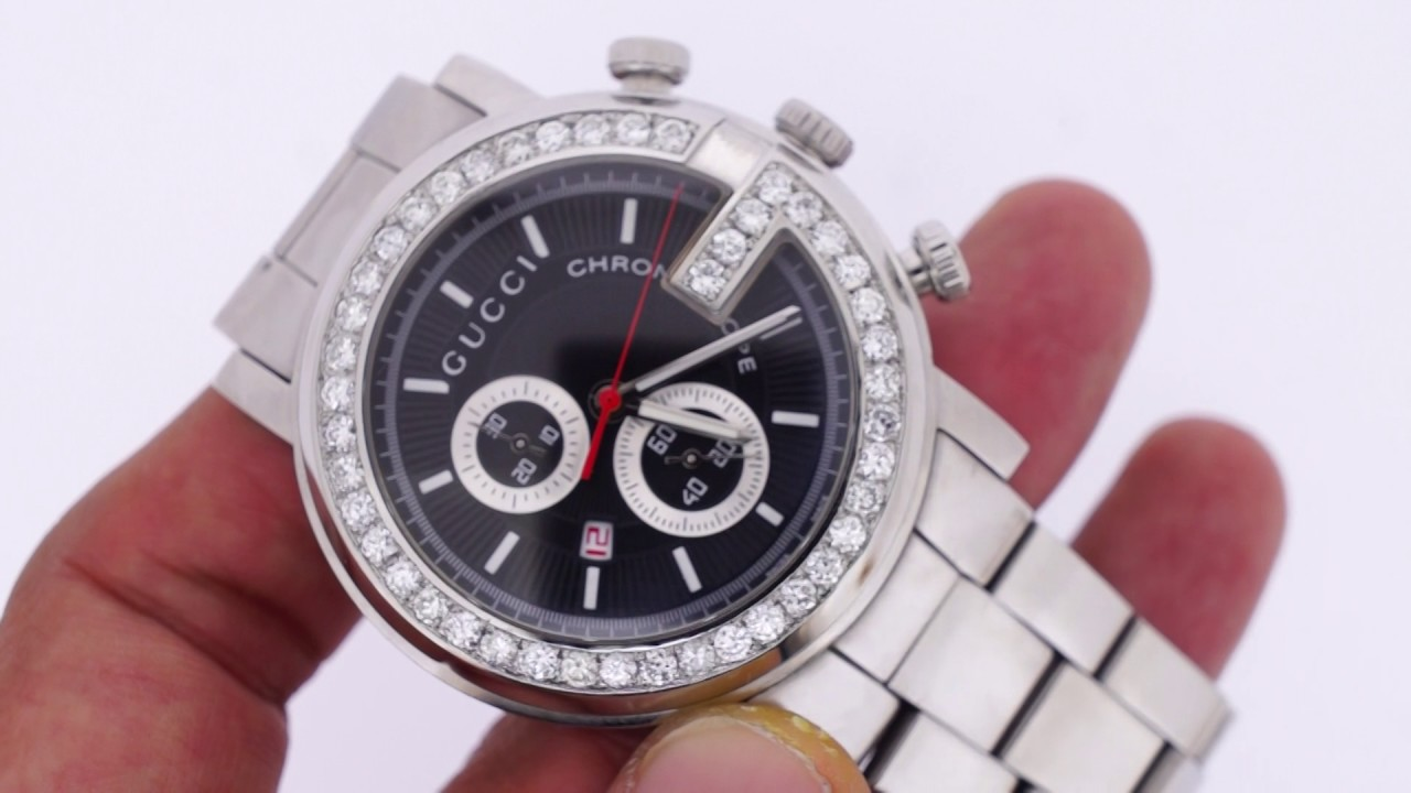 e4a372cd02d Gucci 3 Carat Diamonds G Face iced out watch - YouTube