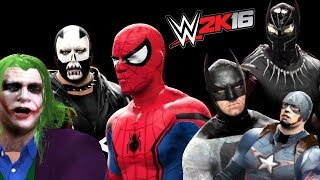 Spiderman vs Joker vs Batman vs Captain America vs Black Panther vs Crossbones (WWE 2K16)