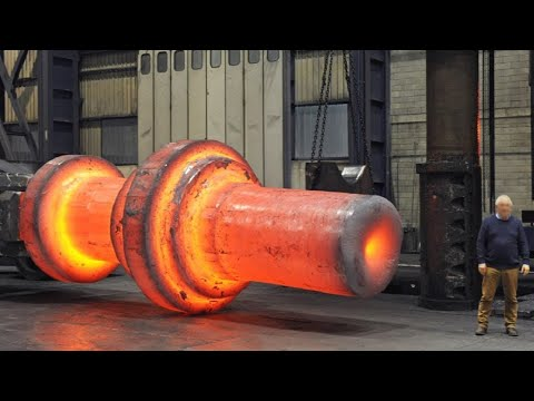 EXTREME Big Heavy Open Die Forging Process, Awesome Fastest Hydraulic Steel Forging Press Machine