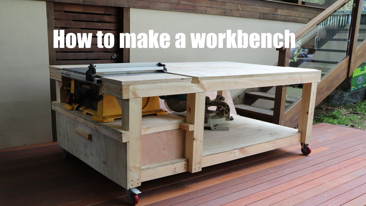 How To Make A Workbench With Built In Table Saw And Vise Youtube