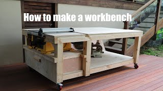 How to make a workbench with built in table saw and vise