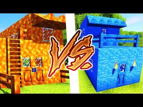 LAVA HOUSE VS WATER HOUSE CHALLENGE ! MAISON EN LAVE VS MAISON EN EAU MINECRAFT
