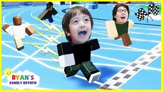 Ryan and Daddy Game Night! Let's Play Roblox Speed Run with Ryan's Family Review!
