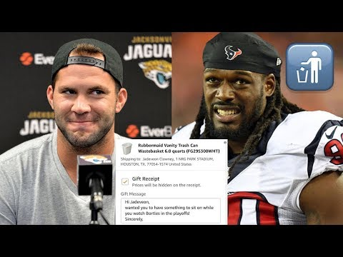 Jags Fans TROLL Jadeveon Clowney with Trash Can Christmas Gifts for Calling Blake Bortles Garbage