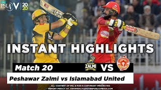 Peshawar Zalmi vs Islamabad United | Full Match Instant Highlights | Match 20 | 7 Mar | HBL PSL 5