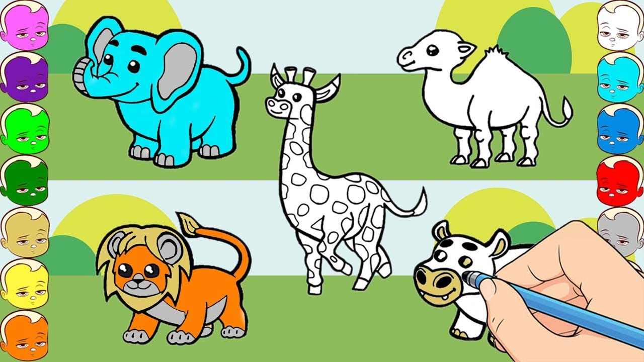 How To Draw Colorful Elephant Giraffe Lion Camel Hippos Coloring Pages