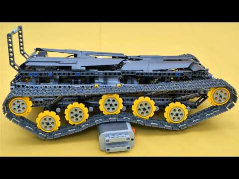Lego full suspended tracked vehicle with 2 speed gearbox