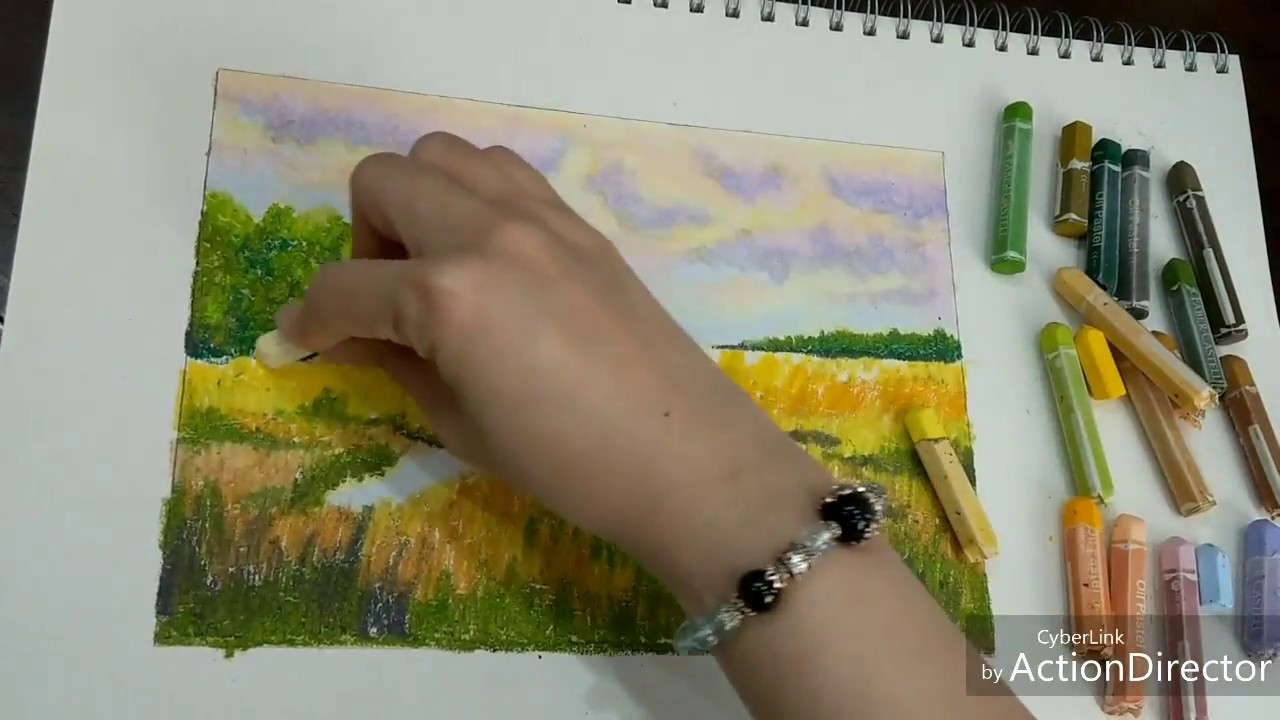 Oil pastel drawing | Cách vẽ phong cảnh bằng màu sáp dầu 03