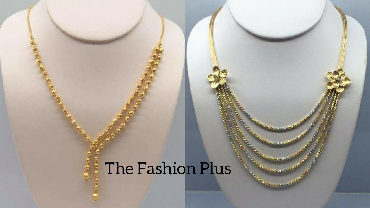 Gold Necklaces Korean Designs In Light