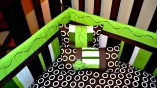 10pc Frog Nursery Crib Bedding Set Brown & Green - Pollywog Pond ; Cribs Bedding Set