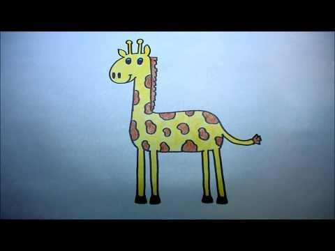 ยีราฟ สอนวาดรูปการ์ตูนน่ารักง่ายๆ ระบายสี How to Draw a Cartoon Giraffe for Kids Step by Step