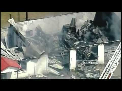 Fire at Fire Station in South Carolina (aerials)