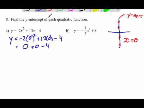 y intercept formula quadratic  Finding y-intercept of quadratic functions given an equation
