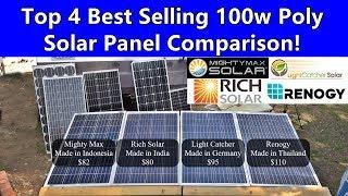 100w Polycrystalline 12v Solar Panel Showdown! Renogy vs Rich vs Lightcatcher vs Mightymax