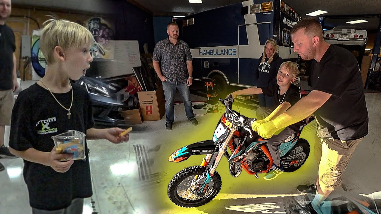 WE SURPRISED HIM WITH A NEW RACING DIRT BIKE!!!