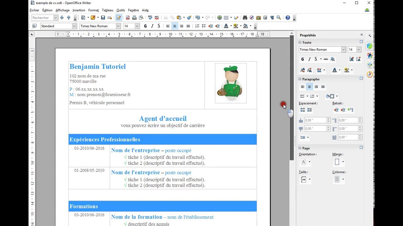 menu sur libre office modele cv