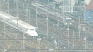 地上100メートルから望む名古屋駅に入線する東海道新幹線 N700系 2019.2.9