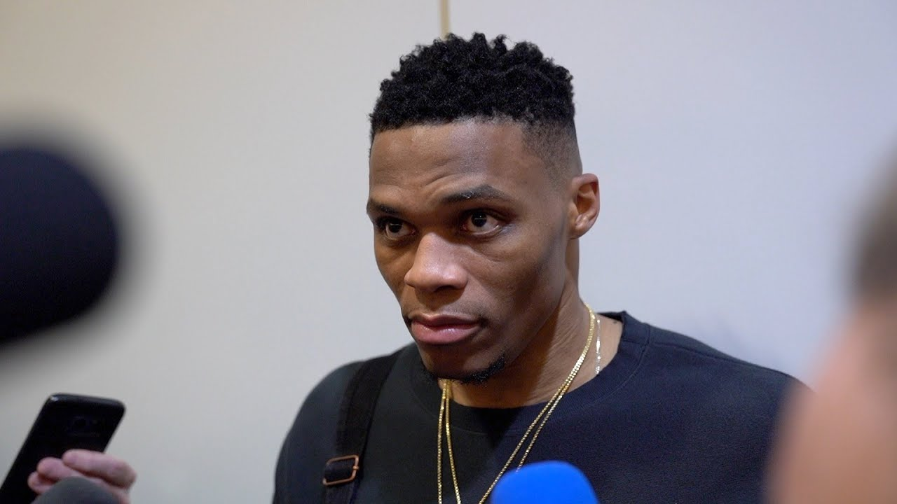 Russell Westbrook Talks to Media After Win Over Jazz