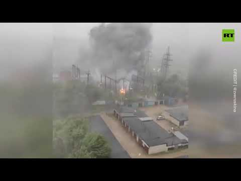 Lightning strikes power station in town near Moscow, igniting fire
