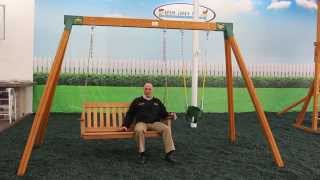 Wooden Bench Swing Set