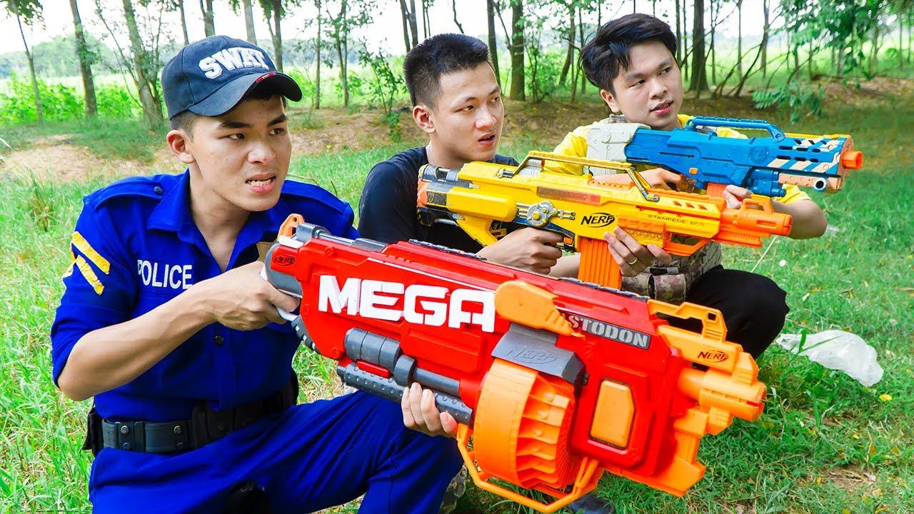 Battle Nerf War OFFICER identity swap nerf & Blue Police nerf guns golden triangle Battle