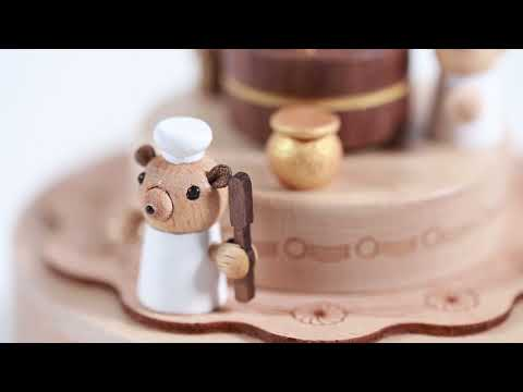 Bear Cake Wooden Music Box