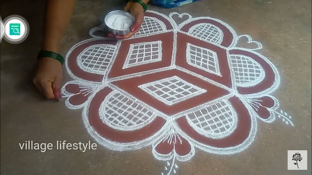 Aadi madam special// flowers PADI Kollam// easy rangoli//village lifestyle// pandaga muggulu//06