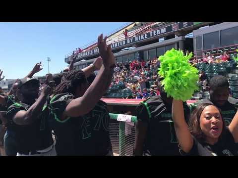 The Richmond Roughriders visit Richmond Flying Squirrels game to promote APF Championship!