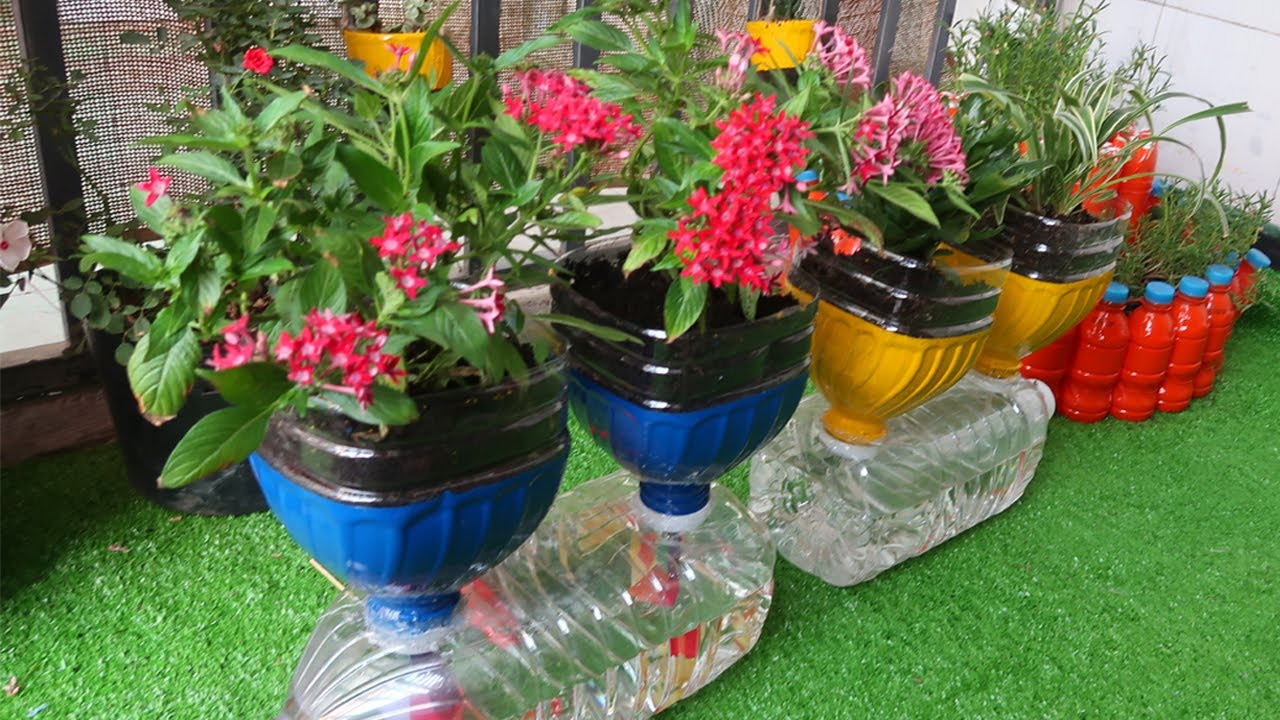 Easy Cheap Making Diy Plastic Bottles For Beautiful Vertical Flower Garden For Small Space Youtube