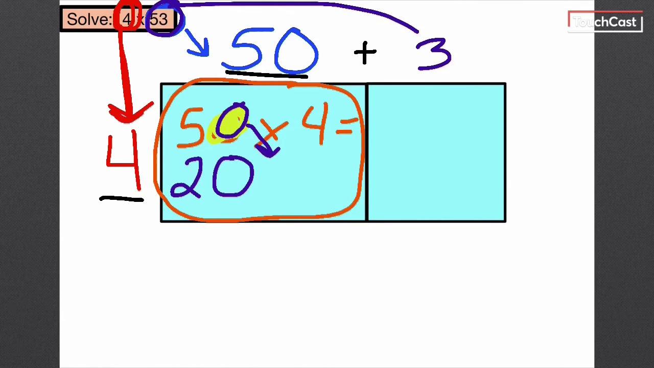 2-Digit by 1-Digit Multiplication (Area Model) - YouTube [ 720 x 1280 Pixel ]