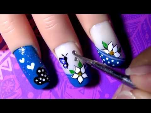 Decorado de Uñas Azul - Blue Decoration Nail Tutorial - Yana