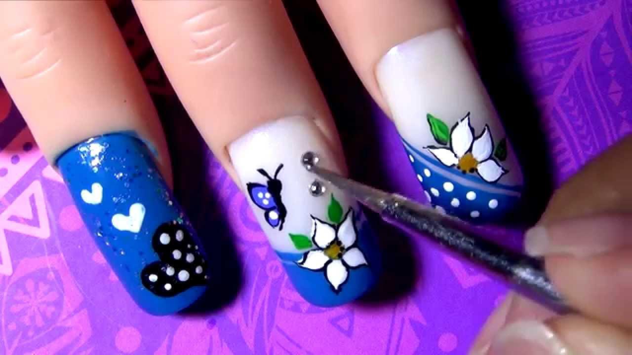 Decorado de u as azul blue decoration nail tutorial - Decorados de unas ...
