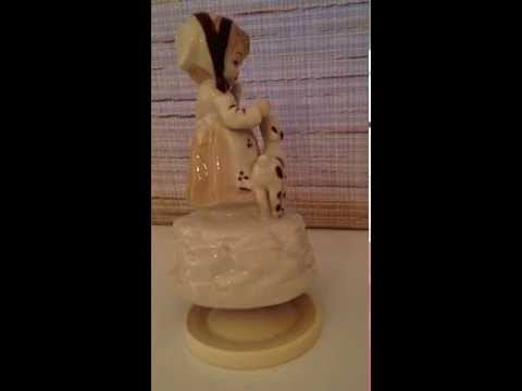 Spinning musical figurine Girl and lamb vintage