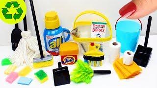 DIY Minyatür Temizlik Malzemeleri -  10 Kolay Barbie Bebek için Minyatür  DIY El Sanatları
