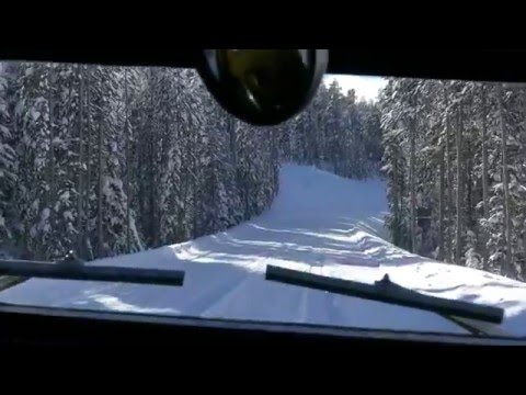 Riding Bombardier Snowcoach on Yellowstone's winter road
