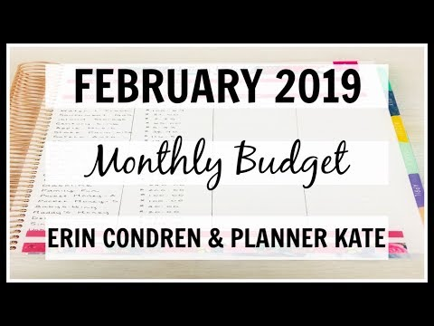 Monthly Budget With Me | February 2019 | Erin Condren & Planner Kate |