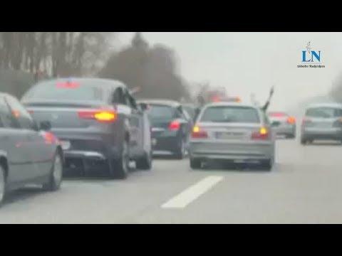 Video zeigt Schüsse aus Autofenster - Hochzeitskorso blockiert Autobahn