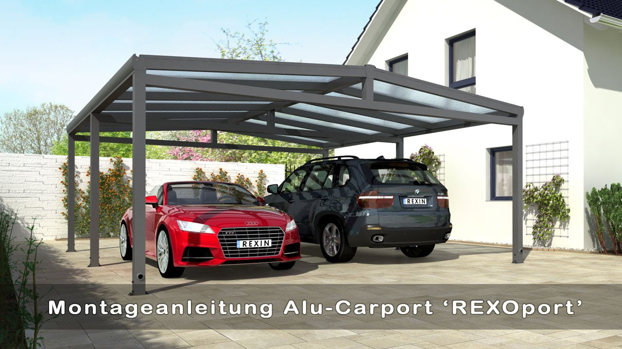 alu carport rexoport selber bauen aufbauvideo youtube. Black Bedroom Furniture Sets. Home Design Ideas