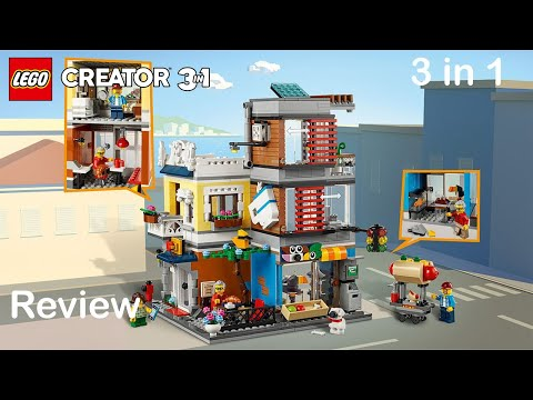 Lego Creator 31097 Set Review - Townhouse, Pet Shop & Cafe all 3 builds