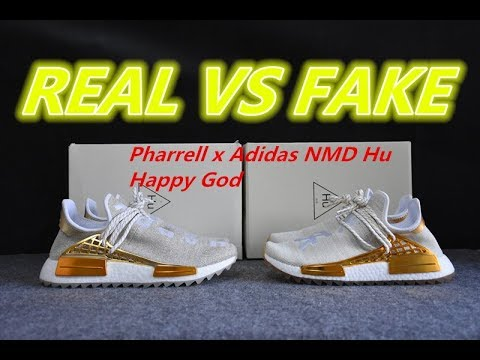 new product e70eb 34bcb Real vs Fake Pharrell Williams NMD Human Race China Exlusive Gold Happy  Comparison