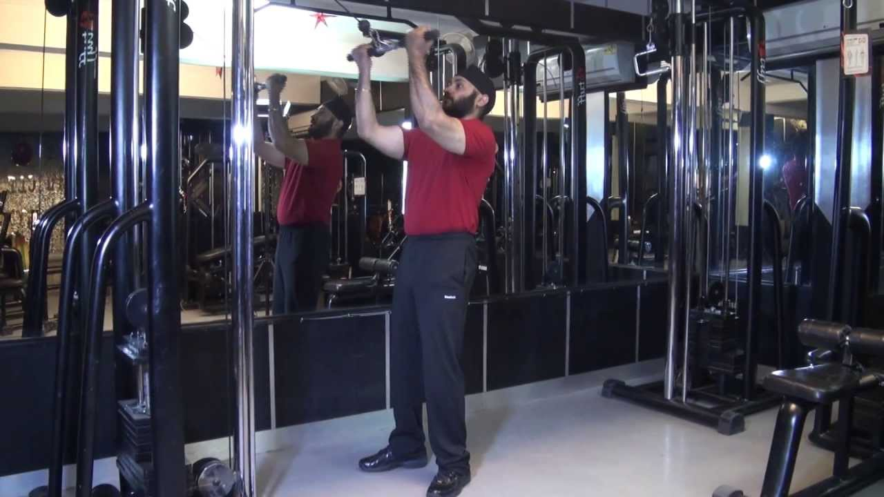 Biceps Standing High Pulley Cable Curls With Straight