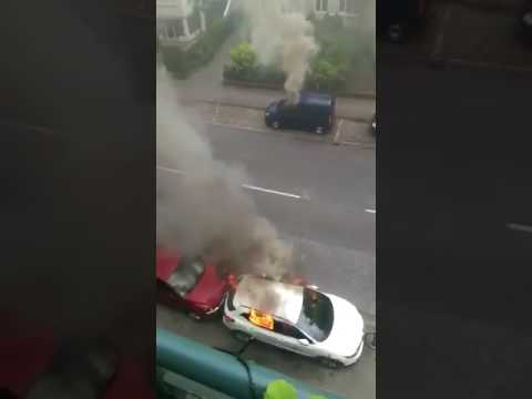 G20 burning cars at the morning in Hamburg. (7th of july)