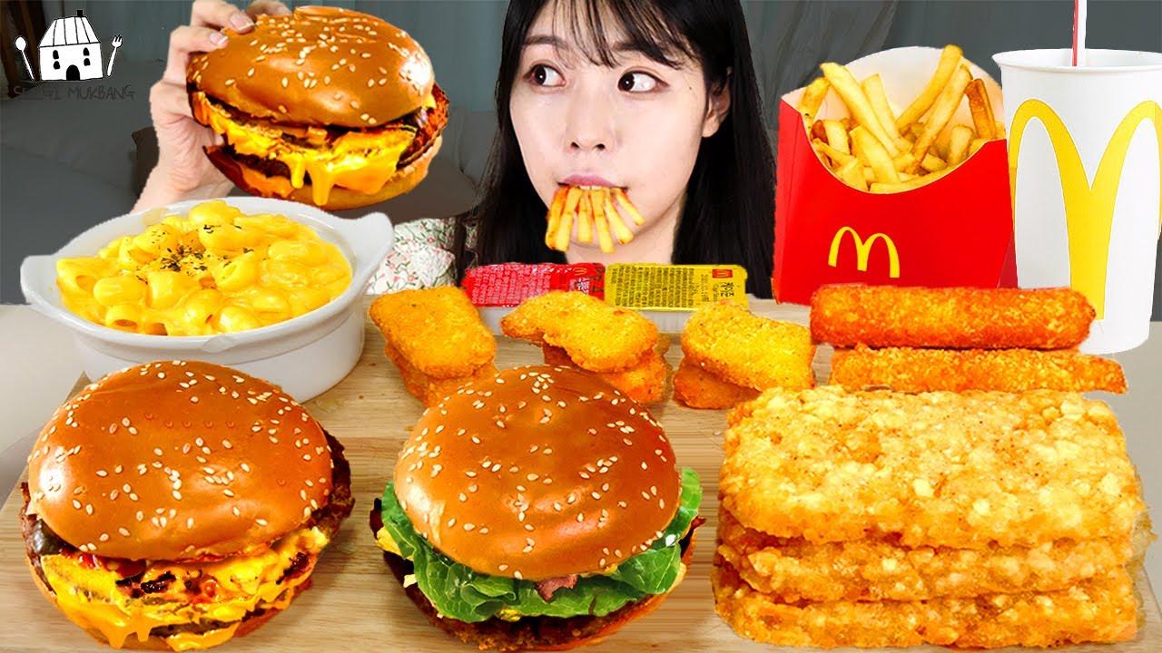 ASMR MUKBANG| 직접 만든 햄버거 양념치킨 치즈스틱 먹방 & 레시피 FRIED CHICKEN AND HAMBURGER EATING