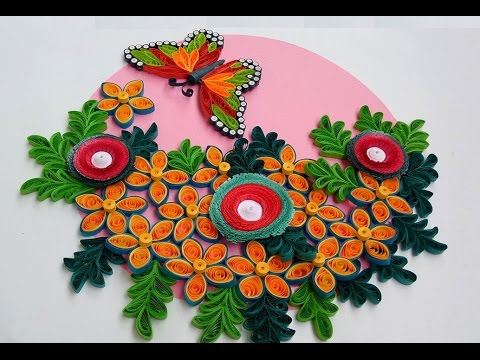 paper quilling how to make beautiful flowers along with butterfly for wall decorations