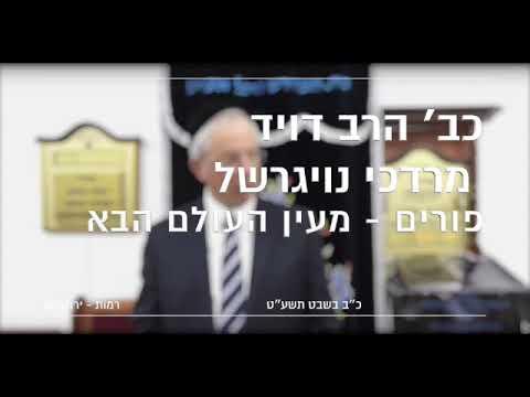 כב הרב מרדכי דוד נויגרשל   פורים   מעין העולם הבא