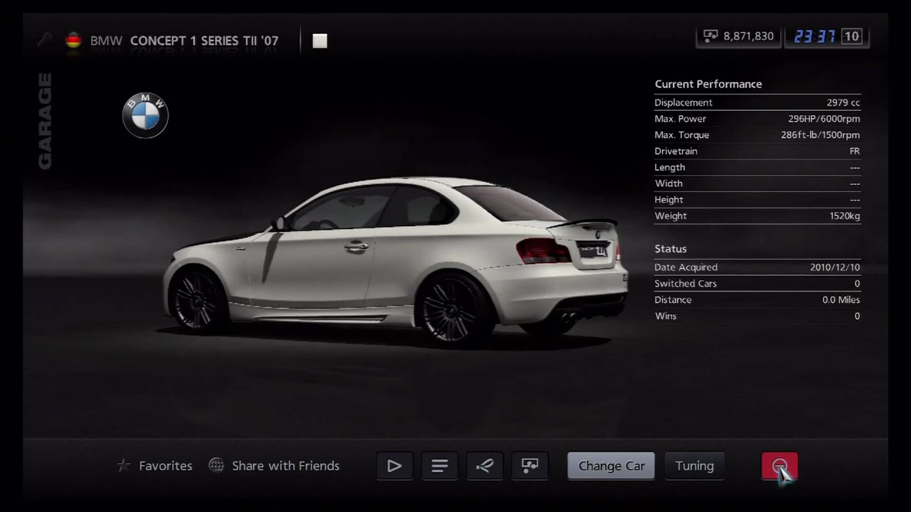 Gran Turismo 5 - BMW Concept 1 Series tii \'07 - YouTube